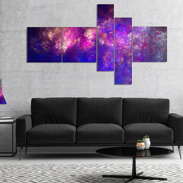 Designart Clear Purple Starry Fractal Sky Multipanel Abstract Canvas Art Print - 5 Panels
