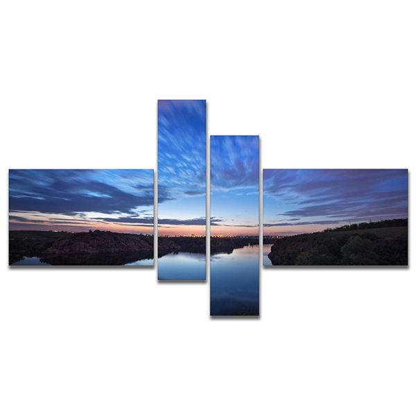 Designart Clouds Reflection In River Multipanel Landscape Photography Canvas Print - 4 Panels