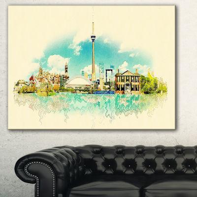 Designart Toronto City Watercolor Cityscape Painting Canvas Print