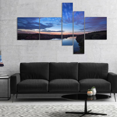 Designart Clouds Reflection In River Multipanel Landscape Photography Canvas Print - 5 Panels