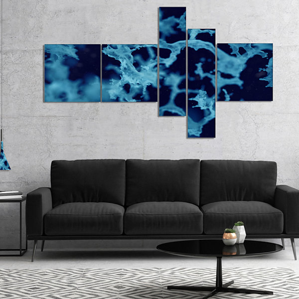 Designart Cloudy Abstract Blue Texture MultipanelAbstract Canvas Art Print - 5 Panels