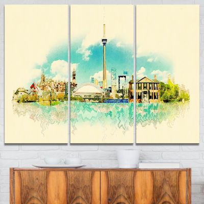 Designart Toronto City Watercolor Cityscape Painting Canvas Print - 3 Panels