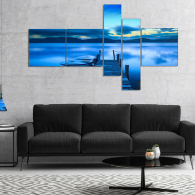 Designart Cloudy Blue Sky With Pier Multipanel Seascape Canvas Art Print - 5 Panels