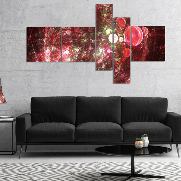 Designart Red Spherical Planet Bubbles MultipanelAbstract Canvas Art Print - 5 Panels