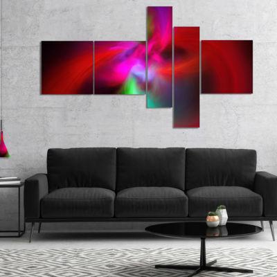Designart Red Spiral Kaleidoscope Multipanel Abstract Wall Art Canvas - 5 Panels