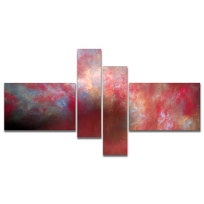 Designart Red Starry Fractal Sky Multipanel Abstract Canvas Art Print - 4 Panels
