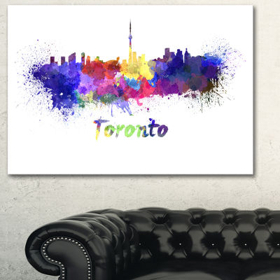 Designart Toronto Skyline Cityscape Canvas Art Print - 3 Panels