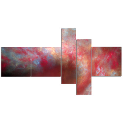 Designart Red Starry Fractal Sky Multipanel Abstract Canvas Art Print - 5 Panels