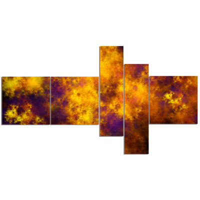 Designart Cloudy Orange Starry Fractal Sky Multipanel Abstract Canvas Art Print - 5 Panels