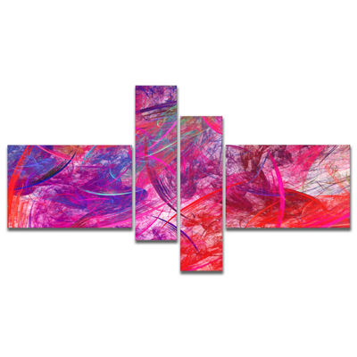 Designart Red Swirling Clouds Multipanel AbstractCanvaS Art Print - 4 Panels
