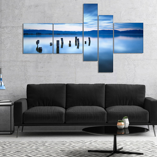 Designart Cloudy Sky Above Lake Multipanel Seascape Canvas Art Print - 4 Panels