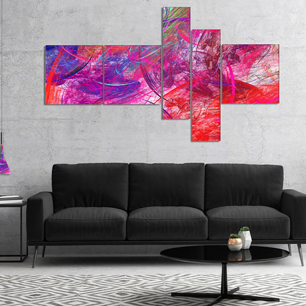 Designart Red Swirling Clouds Multipanel AbstractCanvaS Art Print - 5 Panels