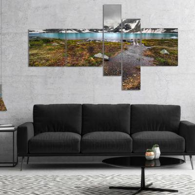 Designart Cloudy Sky Above Mountain Lake Multipanel Landscape Canvas Art Print - 5 Panels