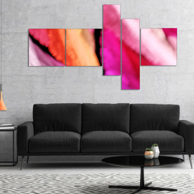Designart Red Vibrant Brushstrokes Multipanel Abstract Canvas Art Print - 5 Panels
