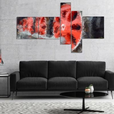 Designart Red Wheels Of Old Steam Train MultipanelAbstract Canvas Art Print - 4 Panels