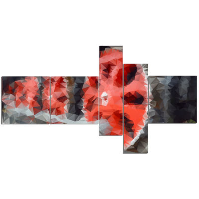 Designart Red Wheels Of Old Steam Train MultipanelAbstract Canvas Art Print - 5 Panels