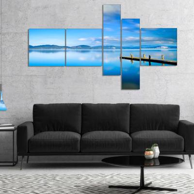 Designart Cloudy Sky Over Blue Sea Multipanel Seascape Canvas Art Print - 5 Panels