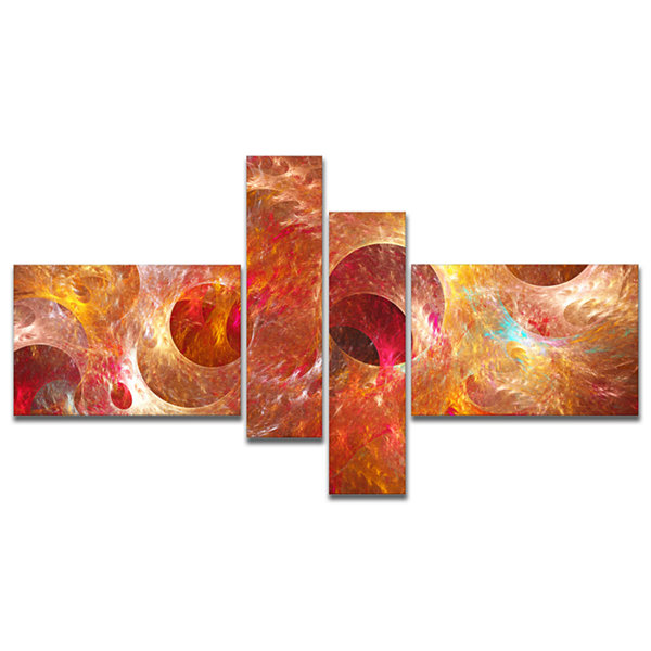 Designart Red Yellow Circles Texture Multipanel Abstract Canvas Art Print - 4 Panels