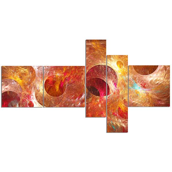 Designart Red Yellow Circles Texture Multipanel Abstract Canvas Art Print - 5 Panels