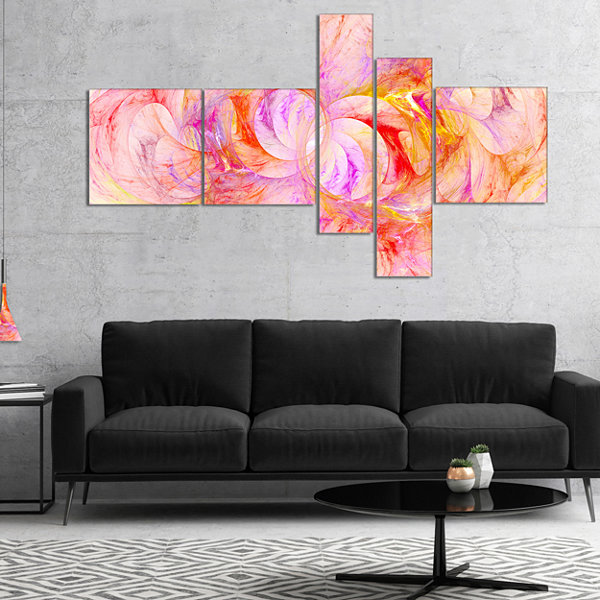 Designart Red Yellow Fractal Glass Texture Multipanel Abstract Canvas Art Print - 5 Panels