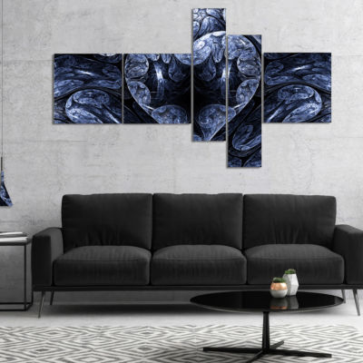 Designart Cold Mystical Fractal Heart Multipanel Abstract Canvas Art Print - 5 Panels