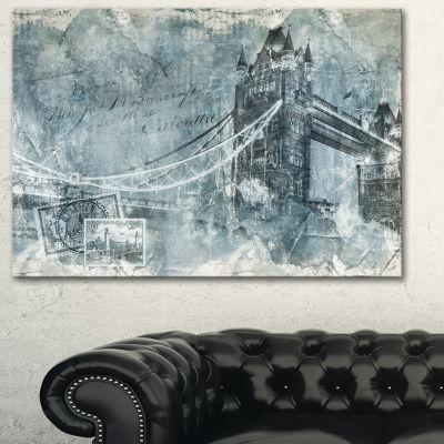 Designart Tower Bridge London Contemporary CanvasArt Print - 3 Panels
