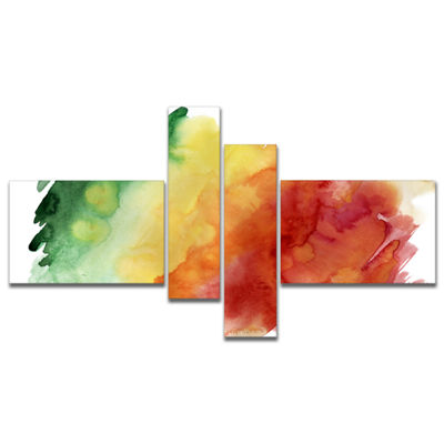Designart Color Explosion Multipanel Abstract Canvas Art Print - 4 Panels