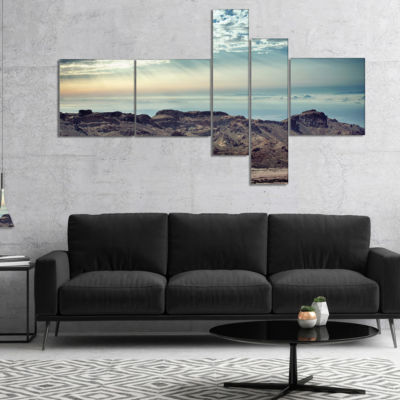 Designart Remote Mountains In Morning MultipanelContemporary Canvas Art Print - 4 Panels