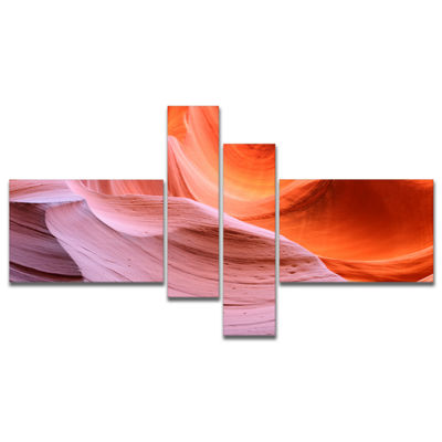 Designart Color Layers In Antelope Canyon Multipanel Landscape Photography Canvas Print - 4 Panels
