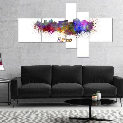 Designart Reno Skyline Multipanel Cityscape CanvasArtwork Print - 5 Panels
