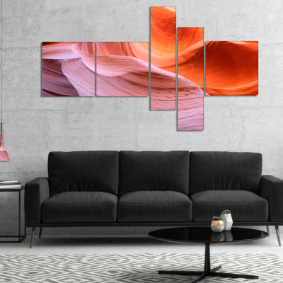 Designart Color Layers In Antelope Canyon Multipanel Landscape Photography Canvas Print - 5 Panels