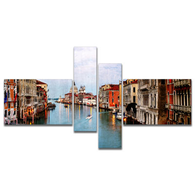 Designart Retro Style Grand Canal At Sunset Multipanel Landscape Photography Canvas Print - 4 Panels