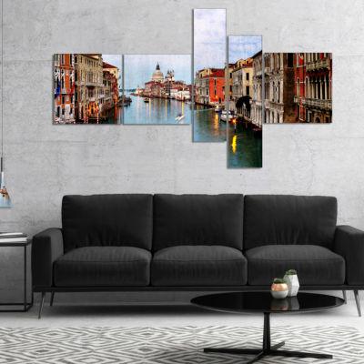 Designart Retro Style Grand Canal At Sunset Multipanel Landscape Photography Canvas Print - 5 Panels