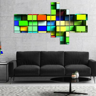 Designart Colored 3D Cubes Wall Design MultipanelAbstract Canvas Art Print - 5 Panels