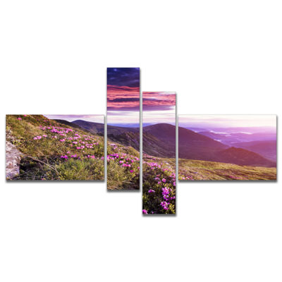 Designart Rhododendron Flowers In Hills MultipanelLandscape Photo Canvas Art Print - 4 Panels