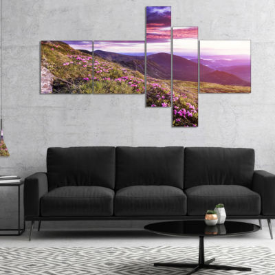 Designart Rhododendron Flowers In Hills MultipanelLandscape Photo Canvas Art Print - 5 Panels