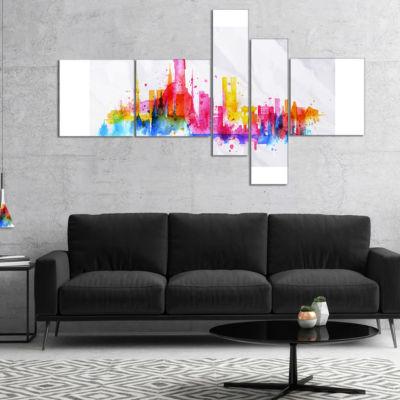 Designart Rio De Janeiro Skyline Multipanel Cityscape Canvas Artwork Print - 5 Panels