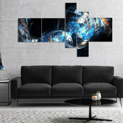 Designart Colored Smoke Blue Multipanel Abstract CanvaS Art Print - 5 Panels