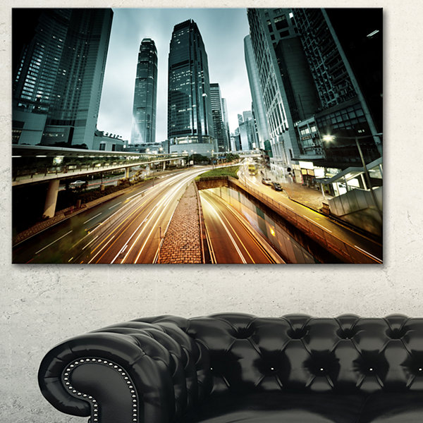 Designart Traffic In Hong Kong At Sunset CityscapePhoto Canvas Print