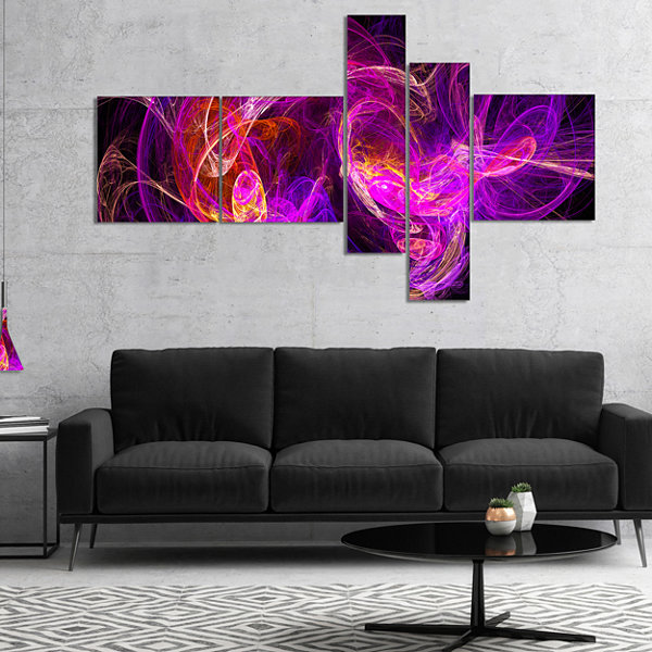 Designart Colored Smoke Blue Purple Multipanel Abstract Canvas Art Print - 5 Panels
