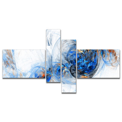 Designart Colored Smoke Dark Blue Multipanel Abstract Canvas Art Print - 4 Panels