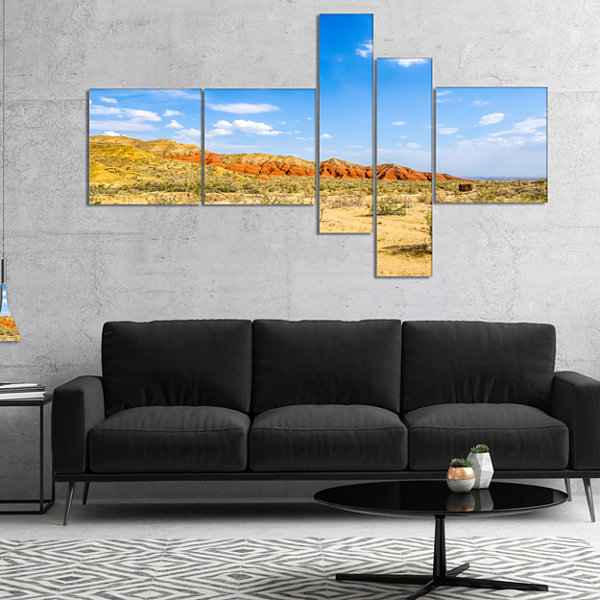 Designart Rocky Mountain In Desert Multipanel Landscape Photo Canvas Art Print - 5 Panels