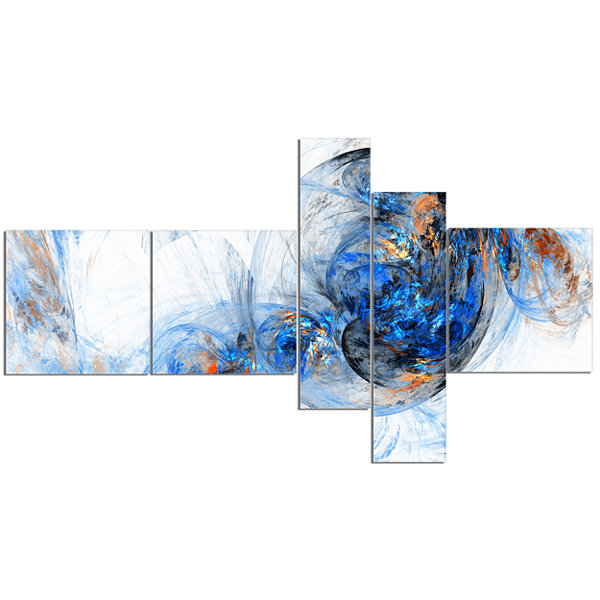 Designart Colored Smoke Dark Blue Multipanel Abstract Canvas Art Print - 5 Panels
