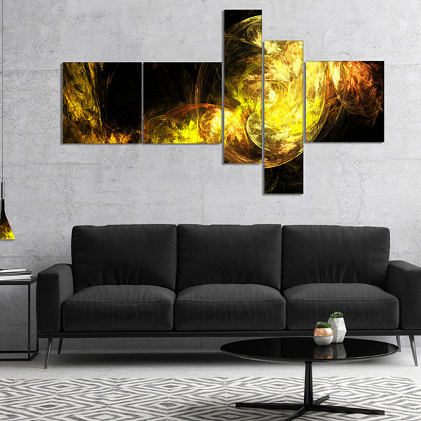 Designart Colored Smoke Golden Multipanel AbstractCanvaS Art Print - 4 Panels