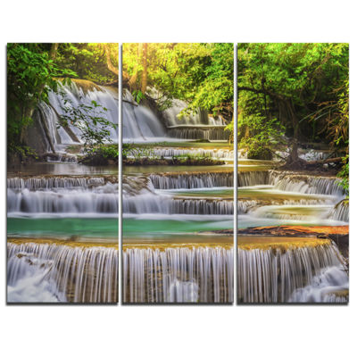 Designart Tranquil Erawan Waterfall Landscape ArtPrint Canvas - 3 Panels
