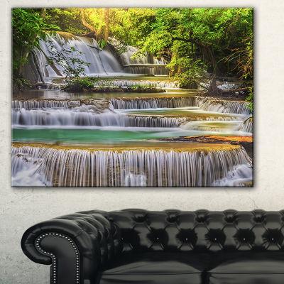 Designart Tranquil Erawan Waterfall Landscape ArtPrint Canvas - 3 Panels