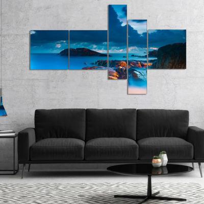 Designart Rocky Sea With Long Exposure MultipanelSeashore Photo Canvas Art Print - 5 Panels