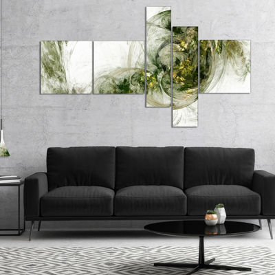 Designart Colored Smoke Green Multipanel AbstractCanvaS Art Print - 5 Panels