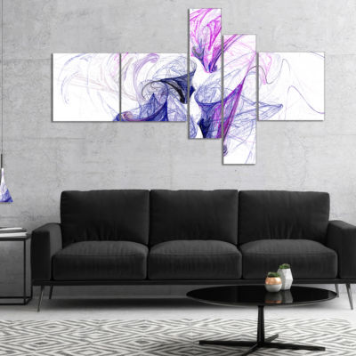 Designart Colored Smoke Purple Multipanel AbstractCanvaS Art Print - 5 Panels