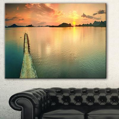 Designart Tranquil Sunset Panorama Photography Canvas Art Print - 3 Panels